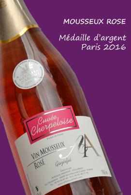 Bouaye mousseux rosé st mars de coutais - lac de grand lieu - medaille argent paris 2016